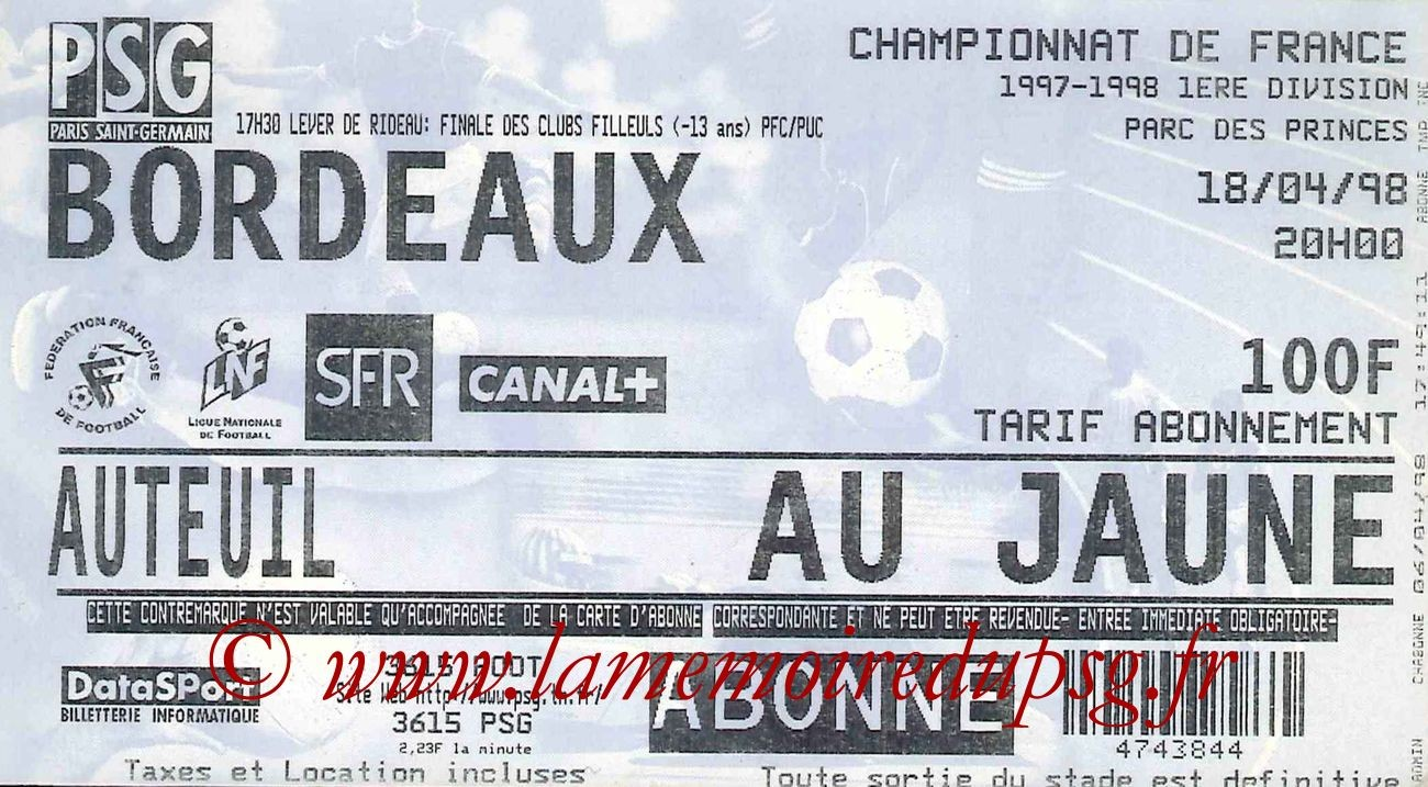 1998-04-18  PSG-Bordeaux (32ème D1)
