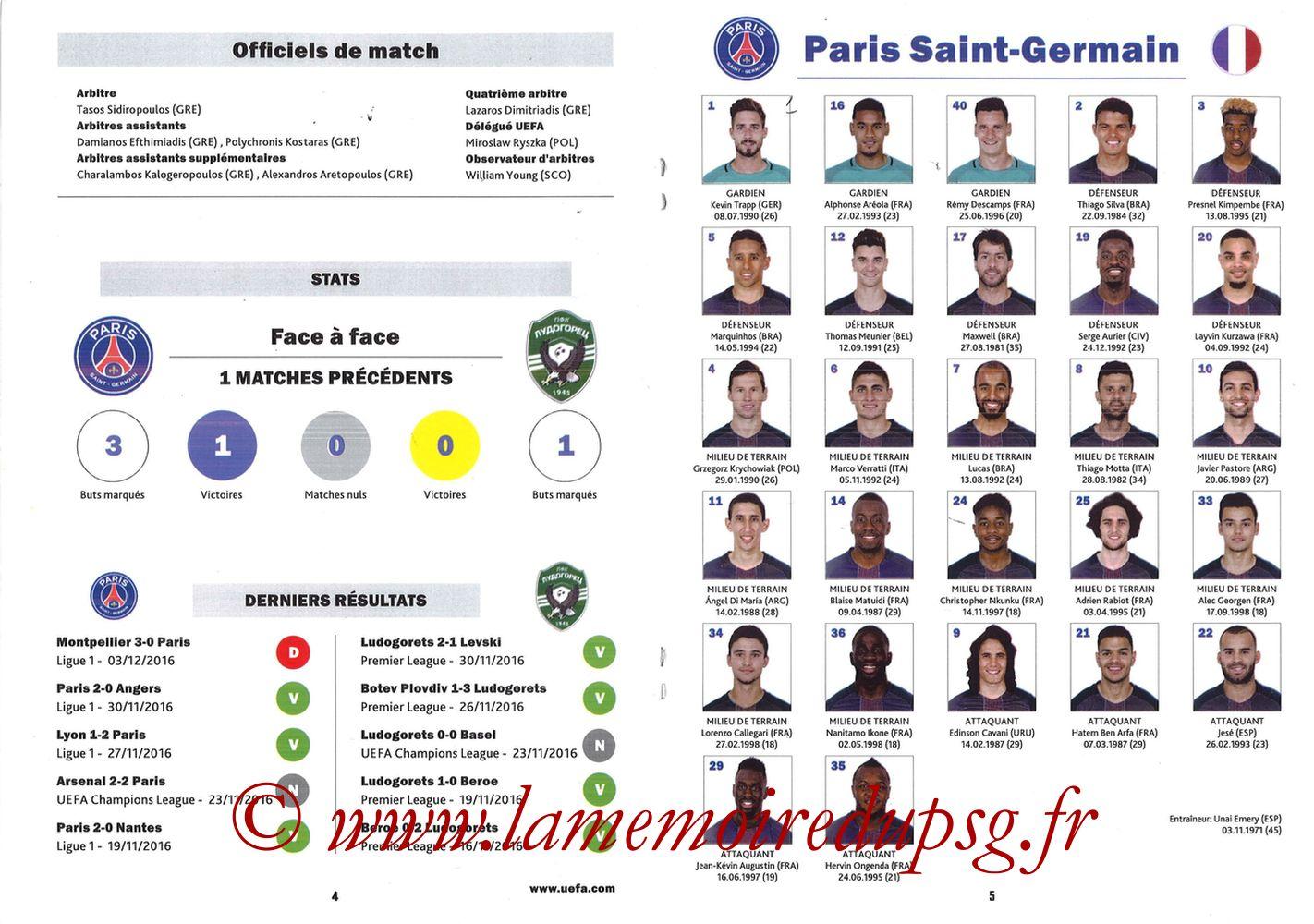 2016-12-06  PSG-Ludogorets (6ème Poule C1, Programme pirate) - Pages 04 et 05