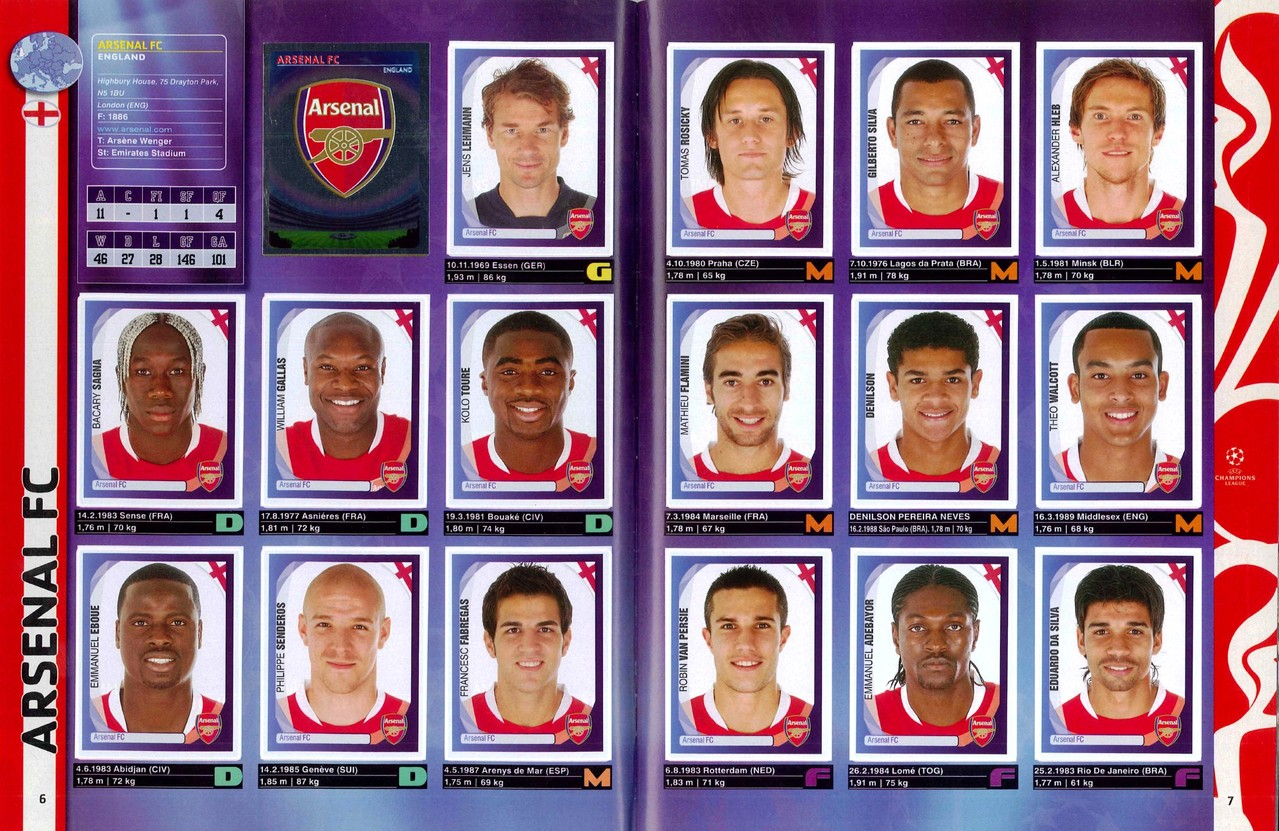 2007-08 - Panini Champions League - Pages 06 et 07 - Arsenal FC