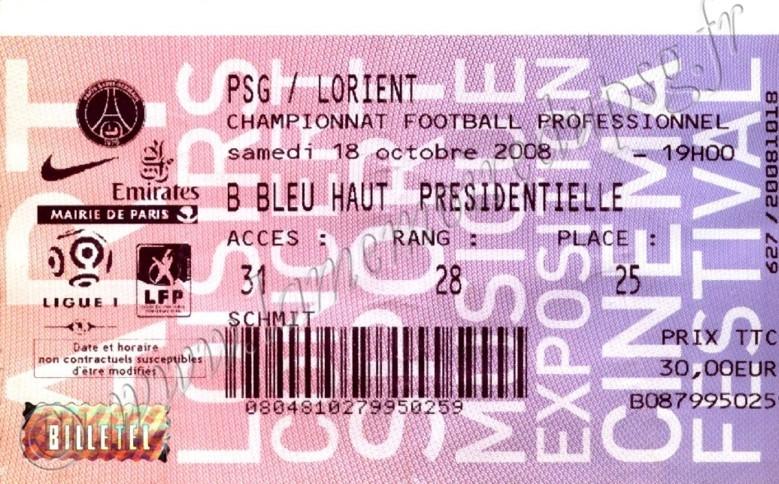 2008-10-18  PSG-Lorient (9ème L1, Billetel)