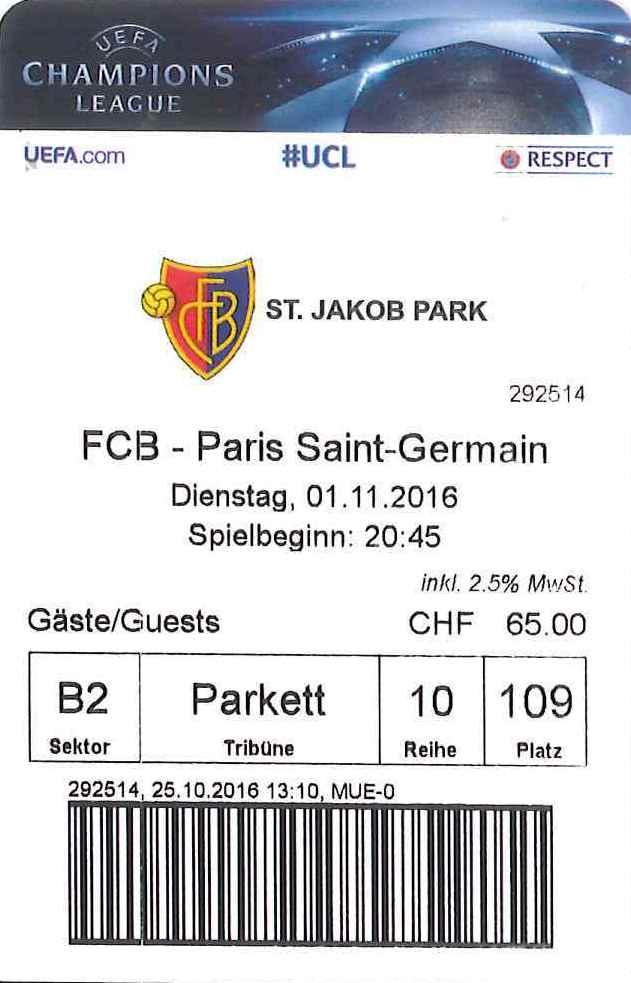 2016-11-01  FC Bâle-PSG (4ème C1)