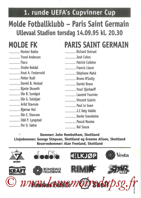 1995-09-14  Molde-PSG (16ème Finale Aller C2, Affichette officielle)