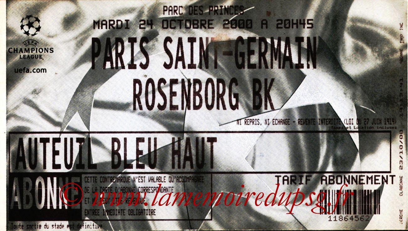 2000-10-24  PSG-Rosenborg (1ère Phase Poule C1, 5ème Journée)
