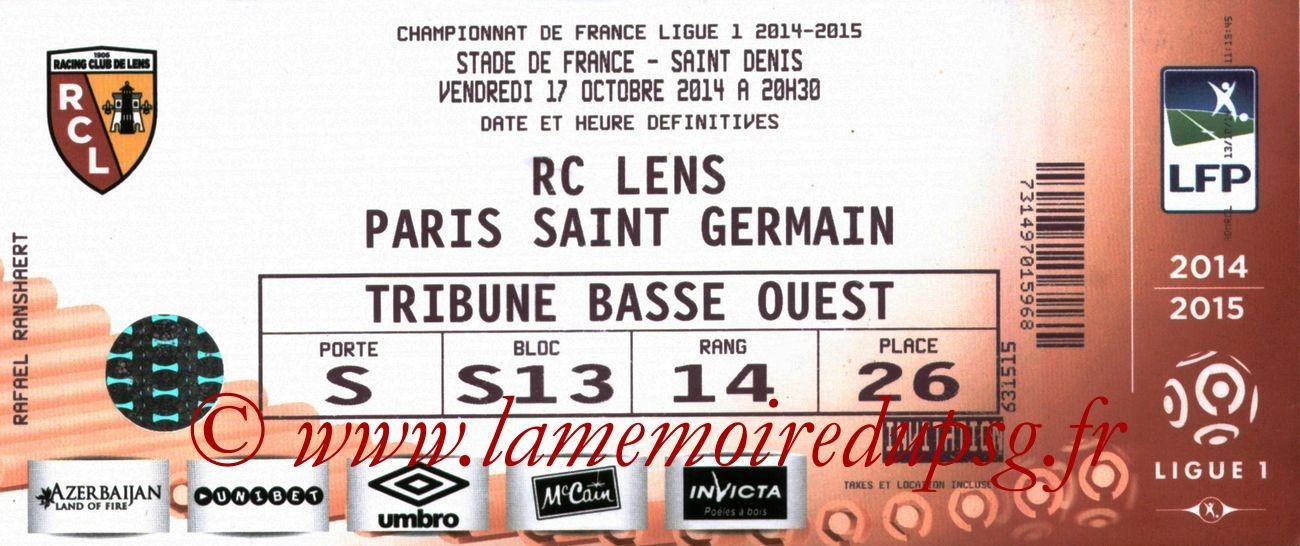 2014-10-17  Lens-PSG (10ème L1 au Stade de France)