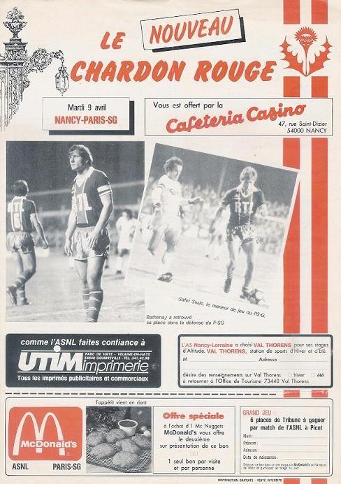 1985-04-09  Nancy-PSG (8ème Finale Aller CF, Le chardon rouge)