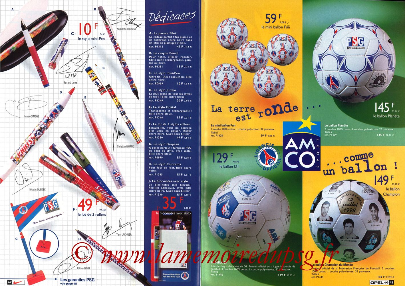 Catalogue PSG - 1998-99 - Pages 42 et 43