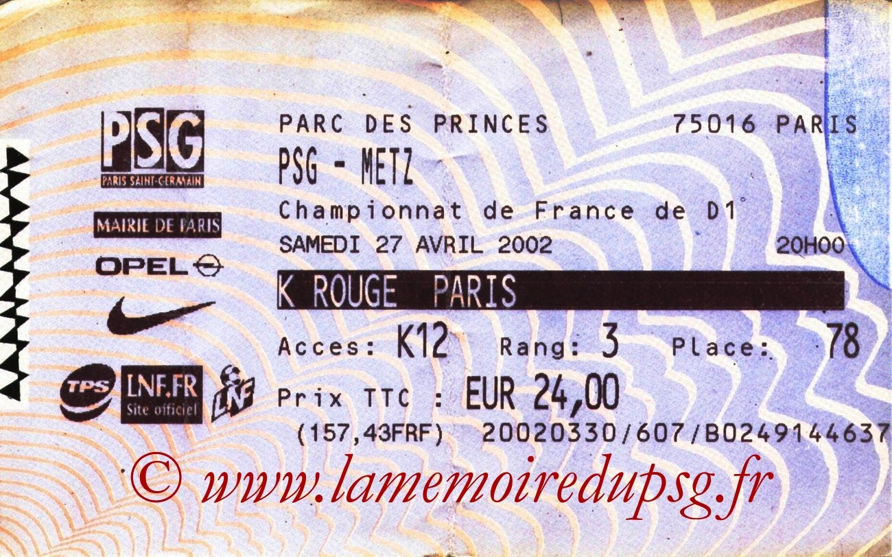 2002-04-27  PSG-Metz (33ème D1, Billetel)