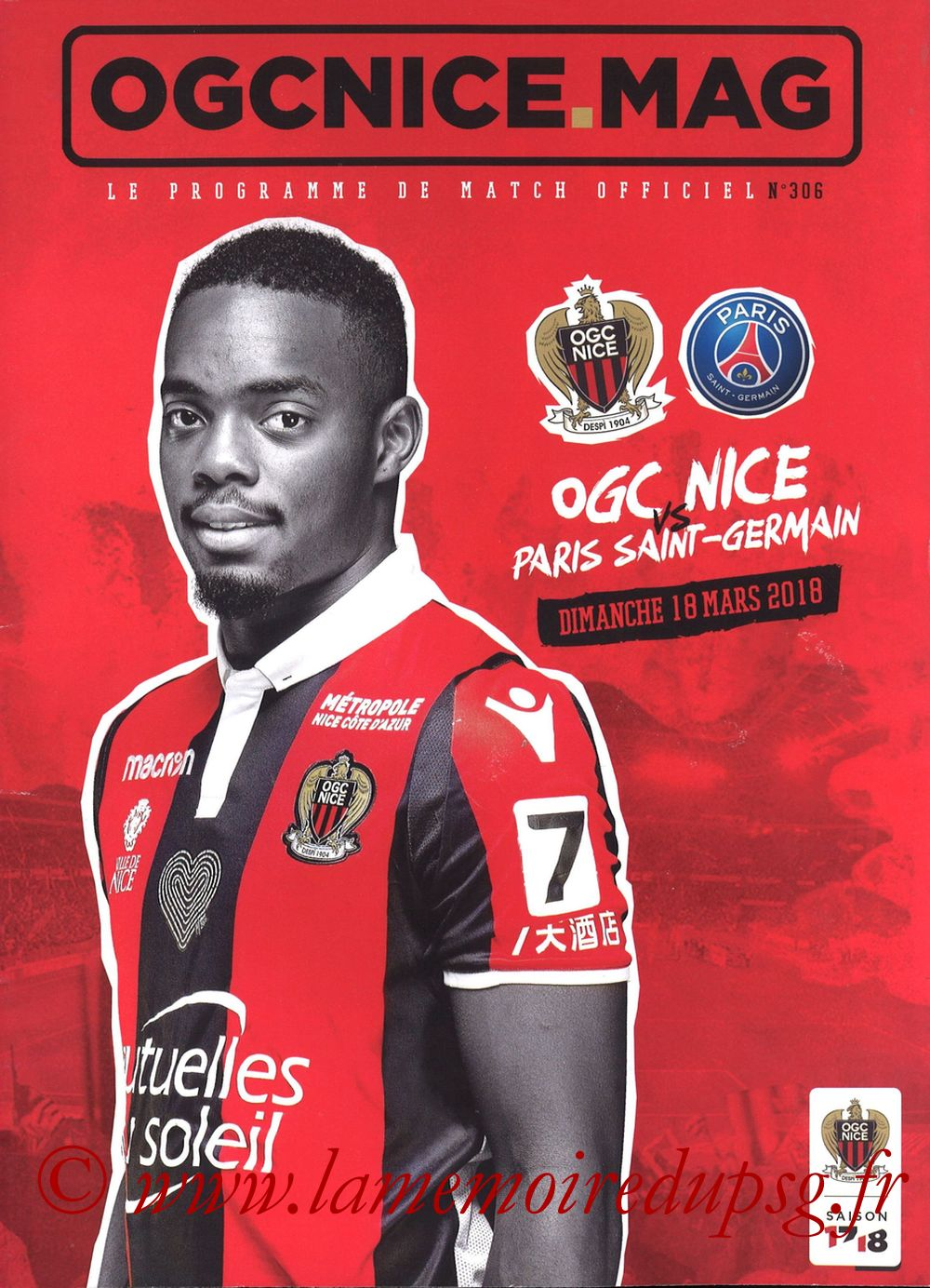 2018-03-18  Nice-PSG (30ème L1, OGC Nice Mag N°306)