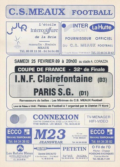 1989-02-25  INF Clairefontaine-PSG (32ème Finale CF à Meaux, Programme officiel)