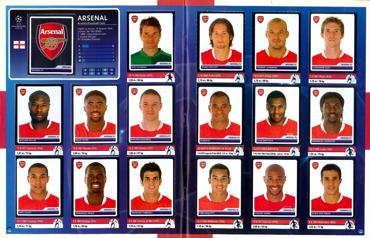 2006-07 - Panini Champions League - Pages 12 et 13 - Arsenal FC
