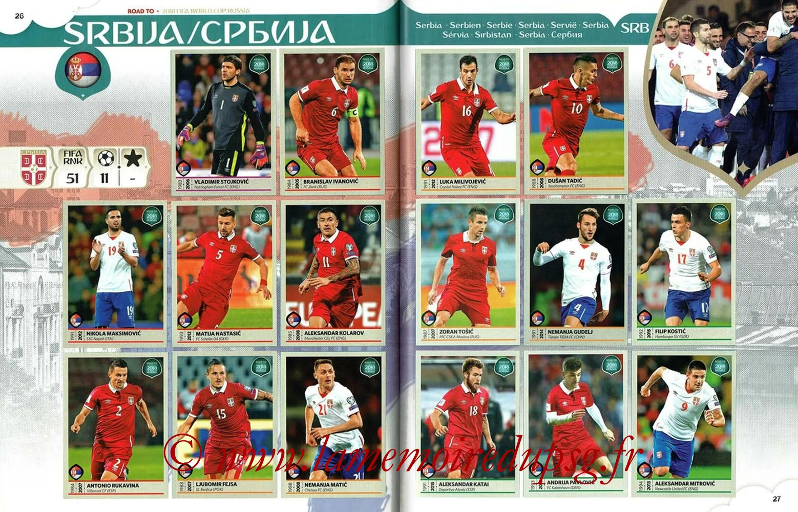 2018 - Panini Road to FIFA World Cup Russia Stickers - Pages 26 et 27 - Serbie
