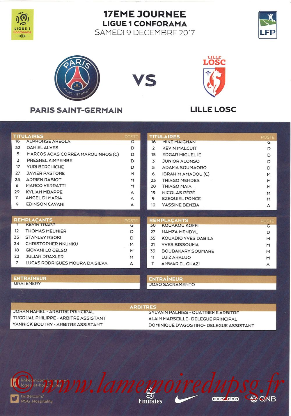 2017-12-09  PSG-Lille (17ème L1, Feuille de match)