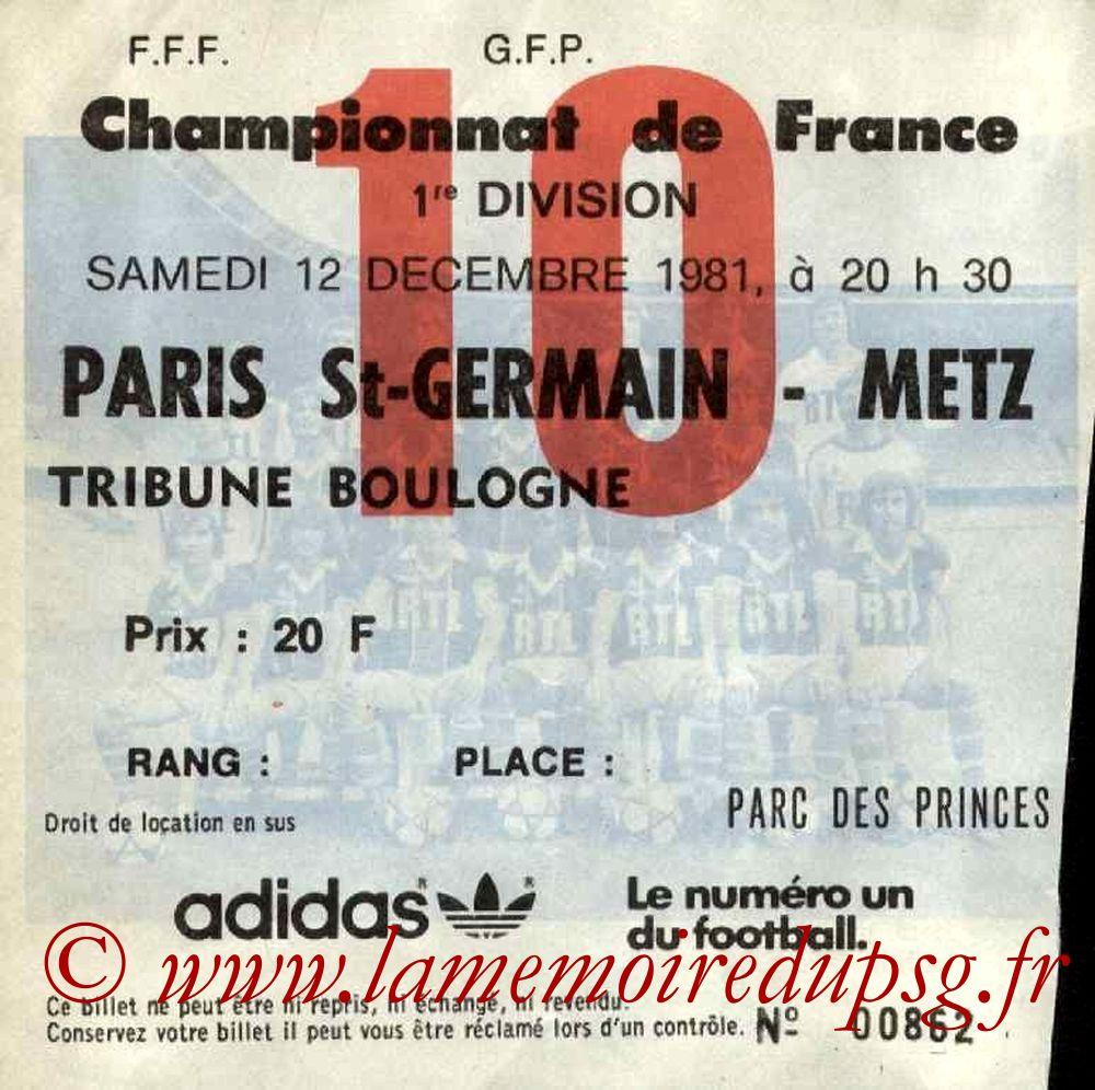 1981-12-12  PSG-Metz (21ème D1, Ticket N°10)