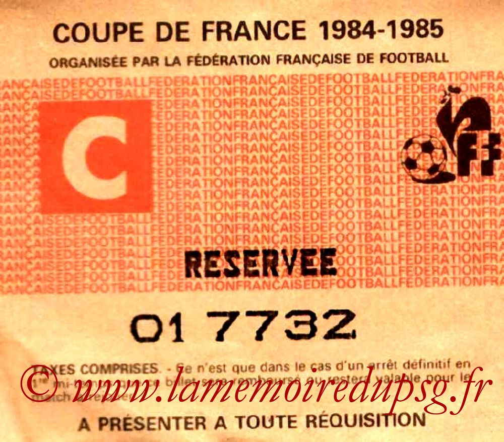 Ticket  Nancy-PSG  1984-85