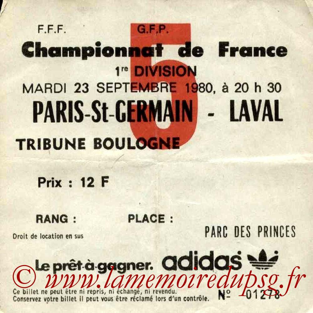 1980-09-23  PSG-Laval (11ème D1, Ticket N°5)