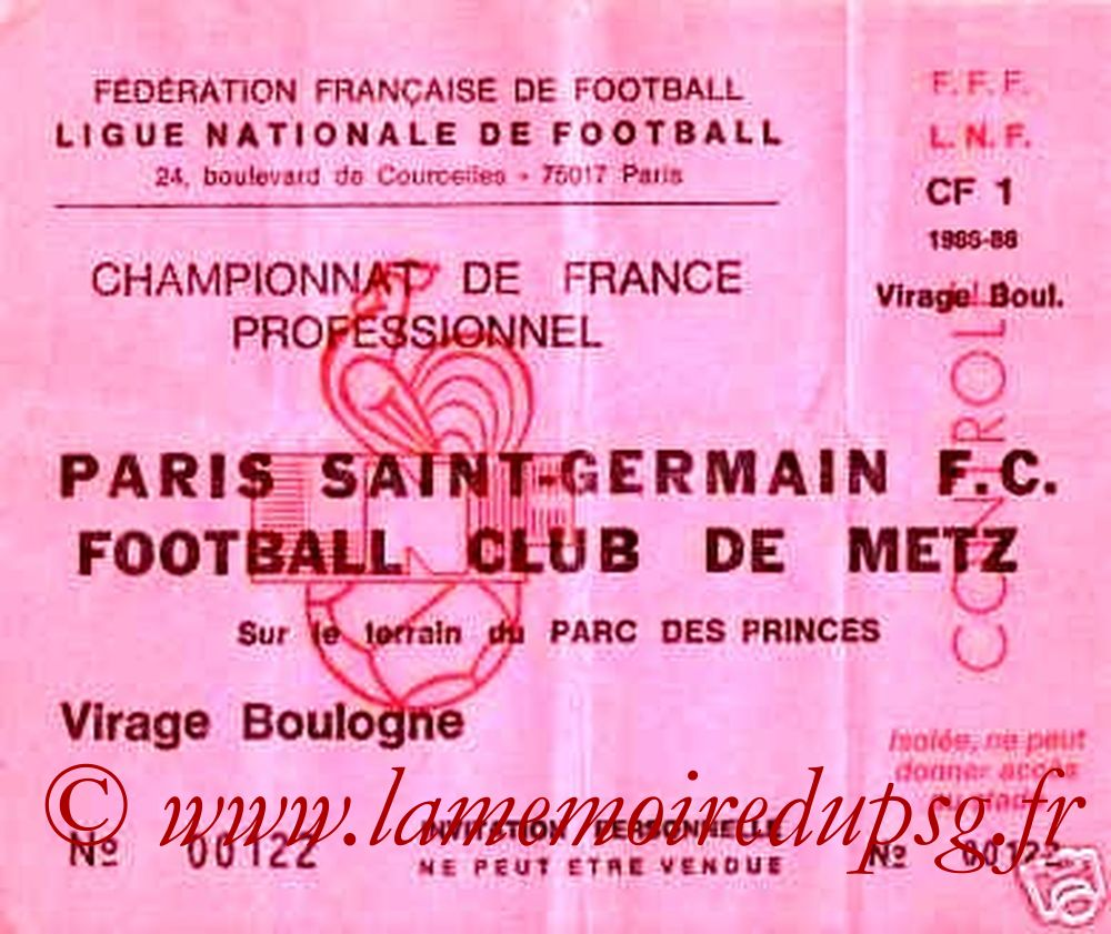 1985-11-08  PSG-Metz (19ème D1, Invitation)