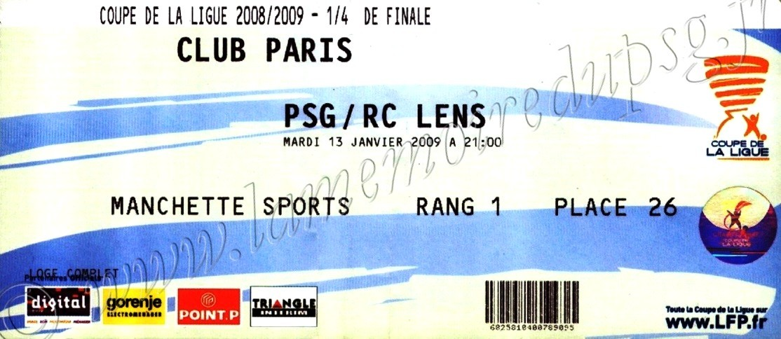 2009-01-14  PSG-Lens (Quart Finale CL, Club Paris)