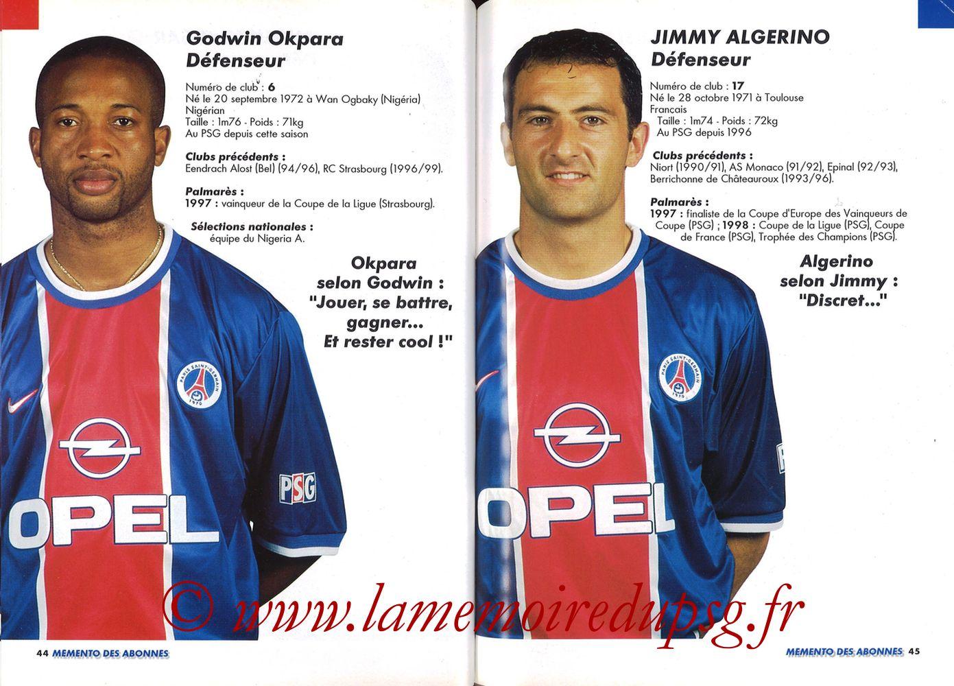 1999-00 - Guide de la Saison PSG - Pages 44 et 45