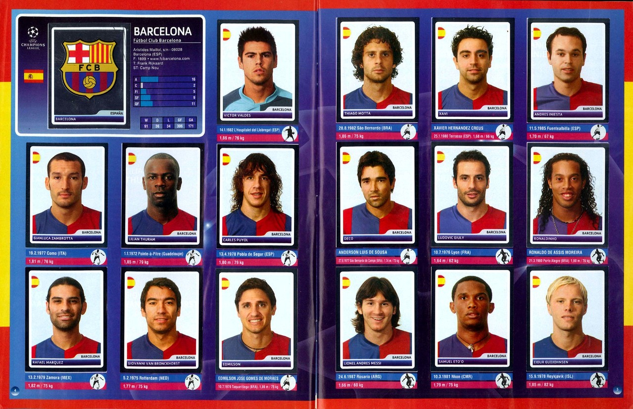 2006-07 - Panini Champions League - Pages 04 et 05 - FC Barcelone