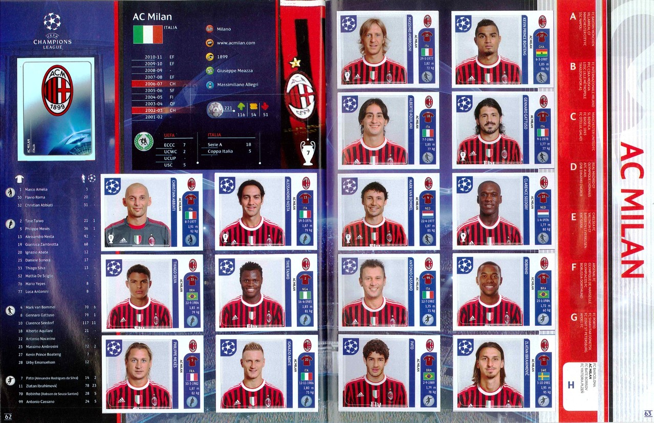 2011-12 - Panini Champions League - Pages 62 et 63 - Milan AC