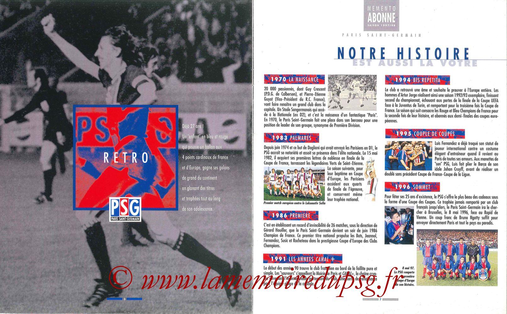 1997-98 - Guide de la Saison PSG - Pages 06 et 07