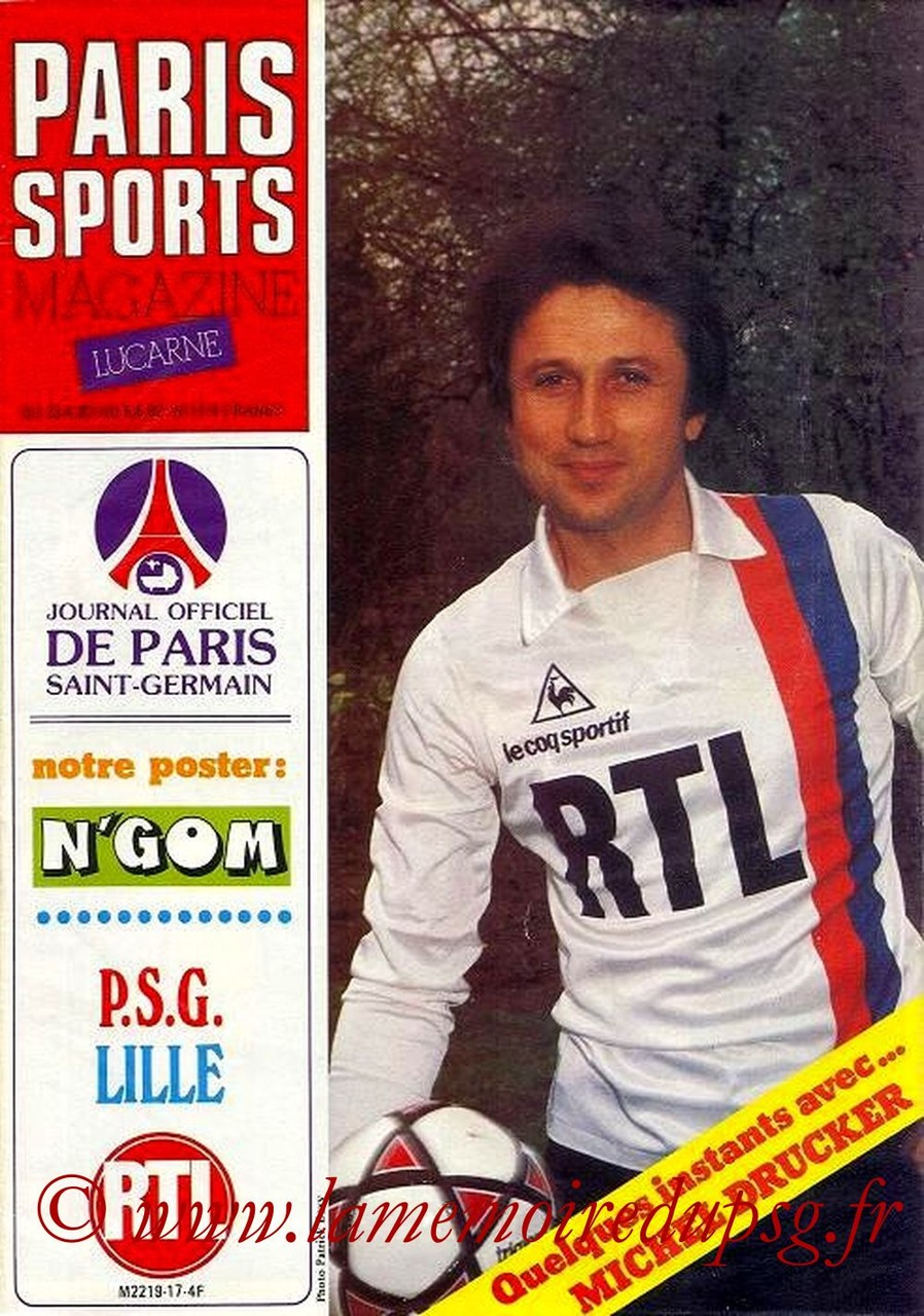1982-04-23  PSG-Lille (36ème D1, Paris Sports Magazine N°17)