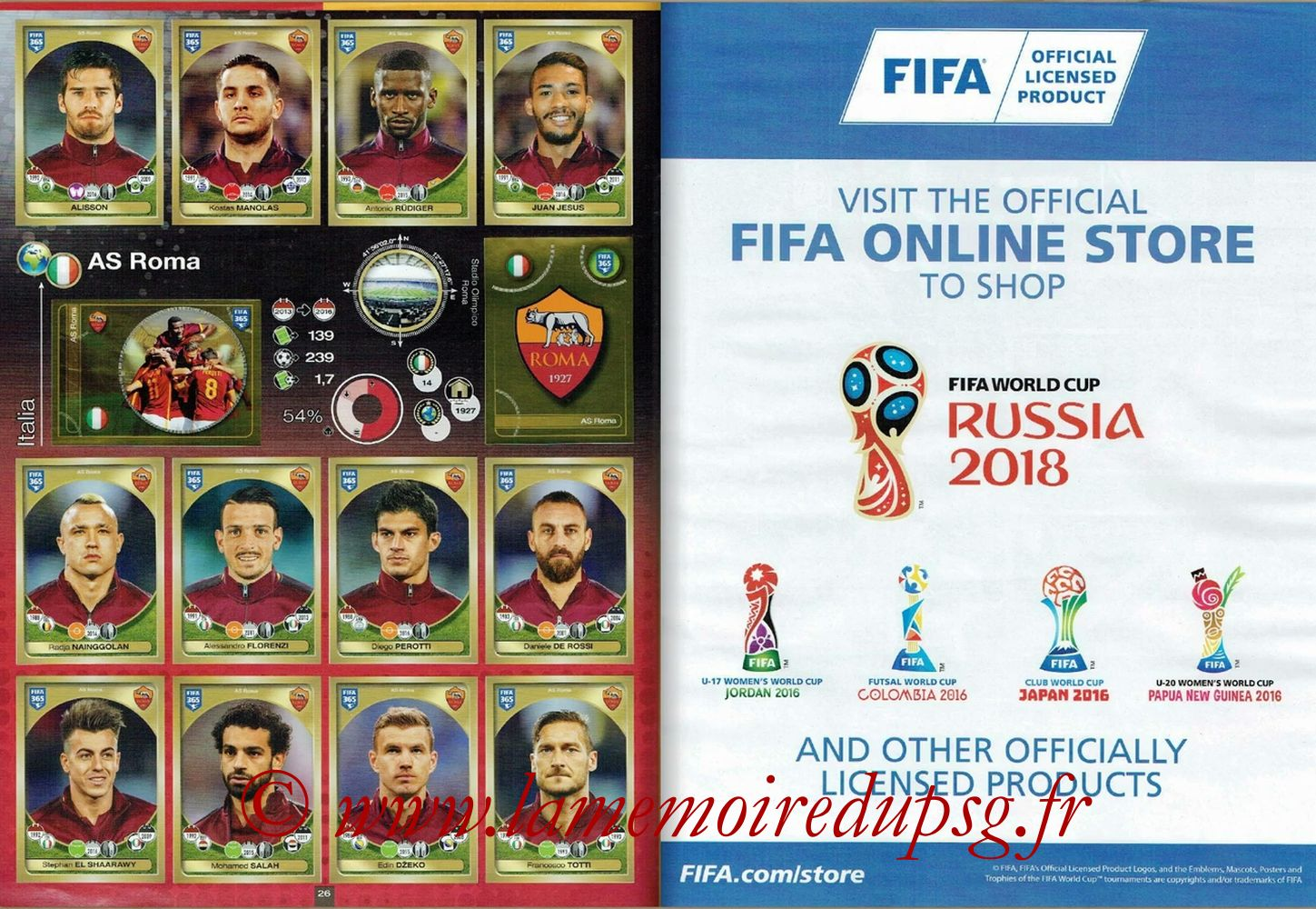 2016-17 - Panini FIFA 365 Stickers - Pages 26 et 27 - AS Roma + FIFA
