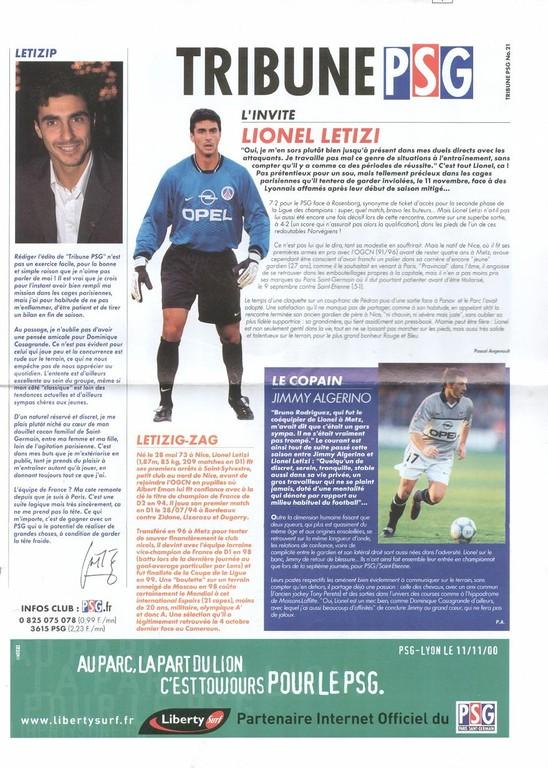 2000-11-11  PSG-Lyon (15ème D1, Tribune PSG N°21)