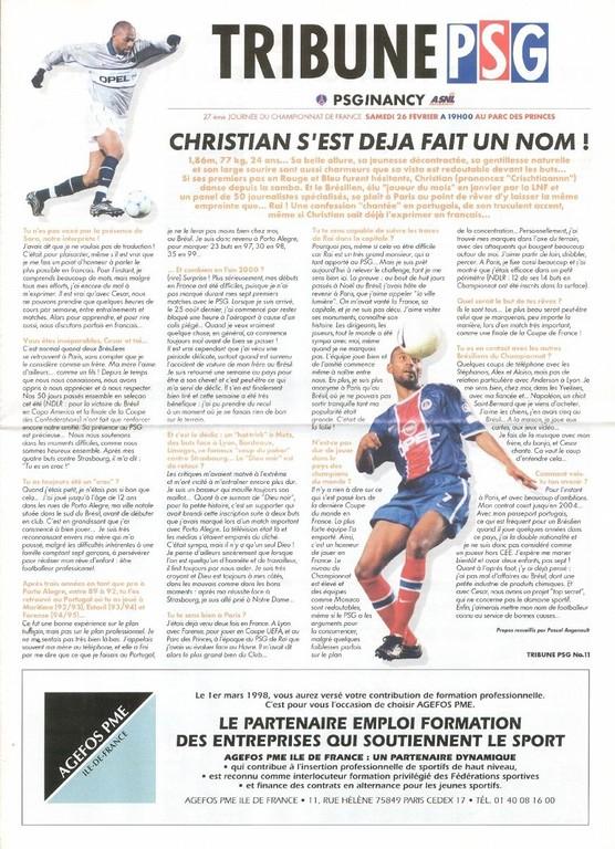 2000-02-26  PSG-Nancy (27ème D1, Tribune PSG N°11)