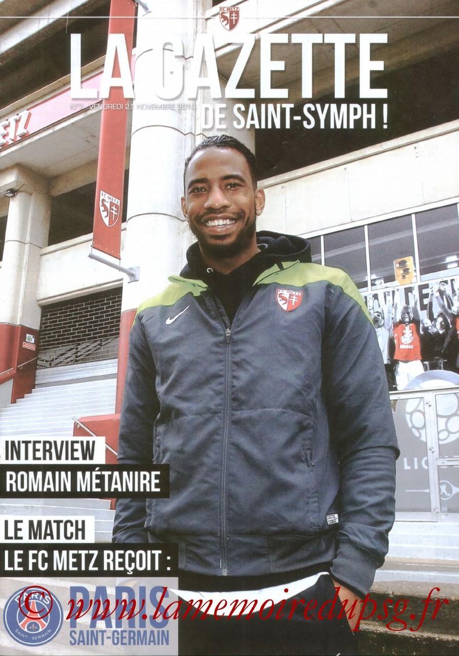 2014-11-21  Metz-PSG (14ème L1, La gazette de Saint-Symph N°7)