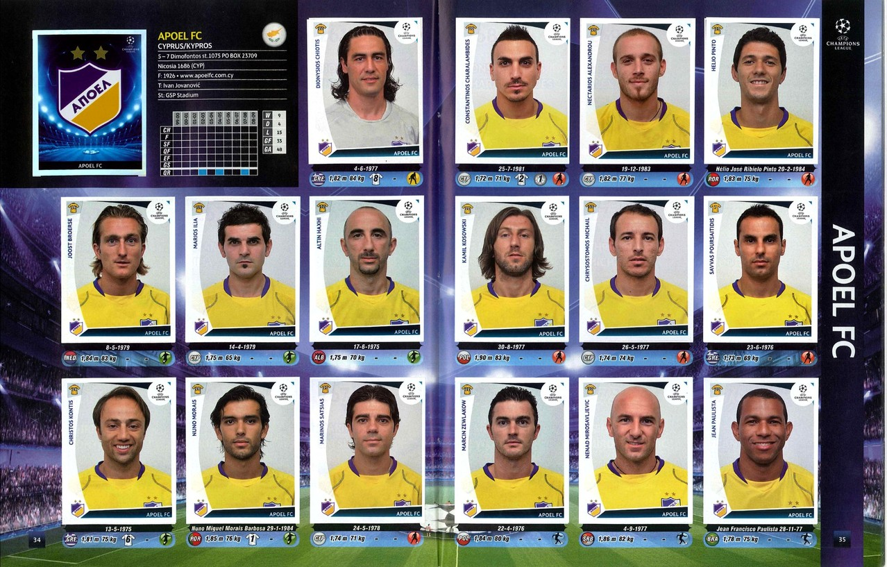 2009-10 - Panini Champions League - Pages 34 et 35 - Apoel Nicosie FC