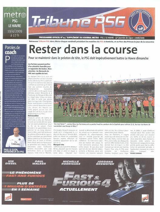 2009-04-19  PSG-Le Havre (32ème L1, Tribune PSG N° 15)