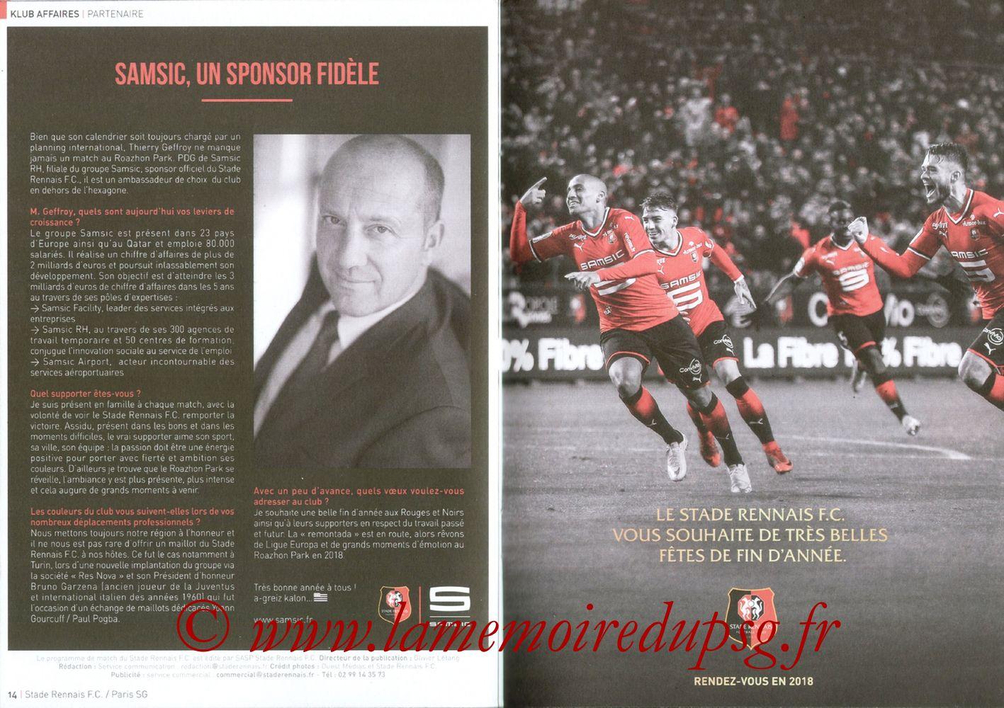 2017-12-16  Rennes-PSG (18ème L1, Le Programme de match) - Pages 14 et 15
