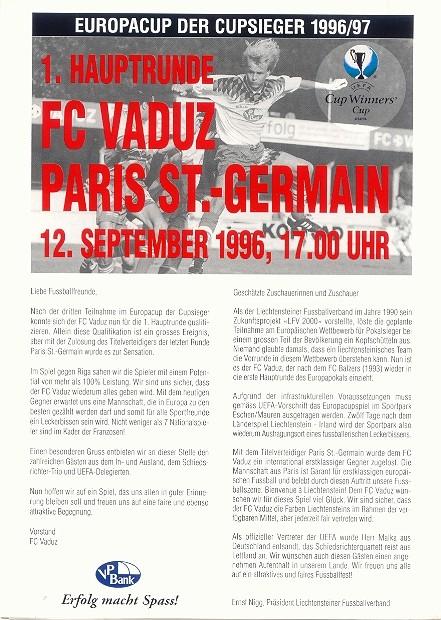 1996-09-12  FC Vaduz-PSG (16ème Finale Aller C2, Officiel)