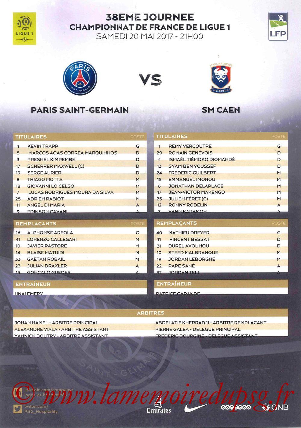 2017-05-20  PSG-Caen (38ème L1, Feuille de match)