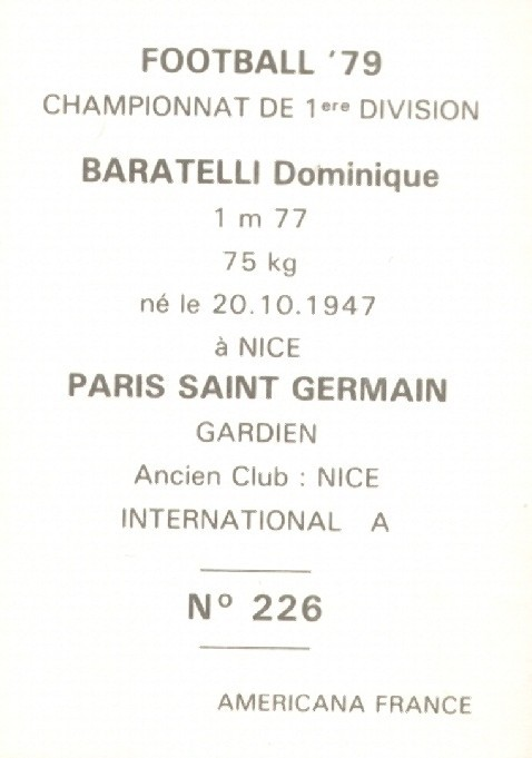 N° 226 - Dominique BARATELLI (Verso)