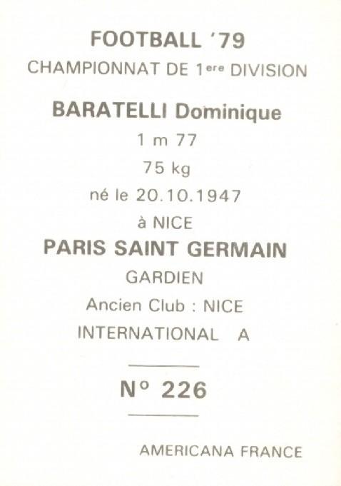 N° 226 - Dominique BARATELLI (Verso)