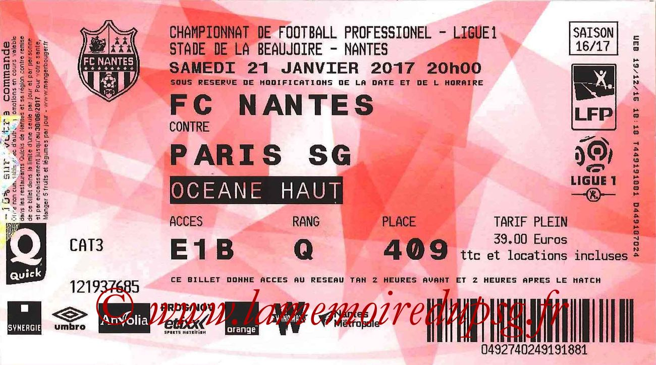 2017-01-21  Nantes-PSG (21ème L1, Ticketnet)