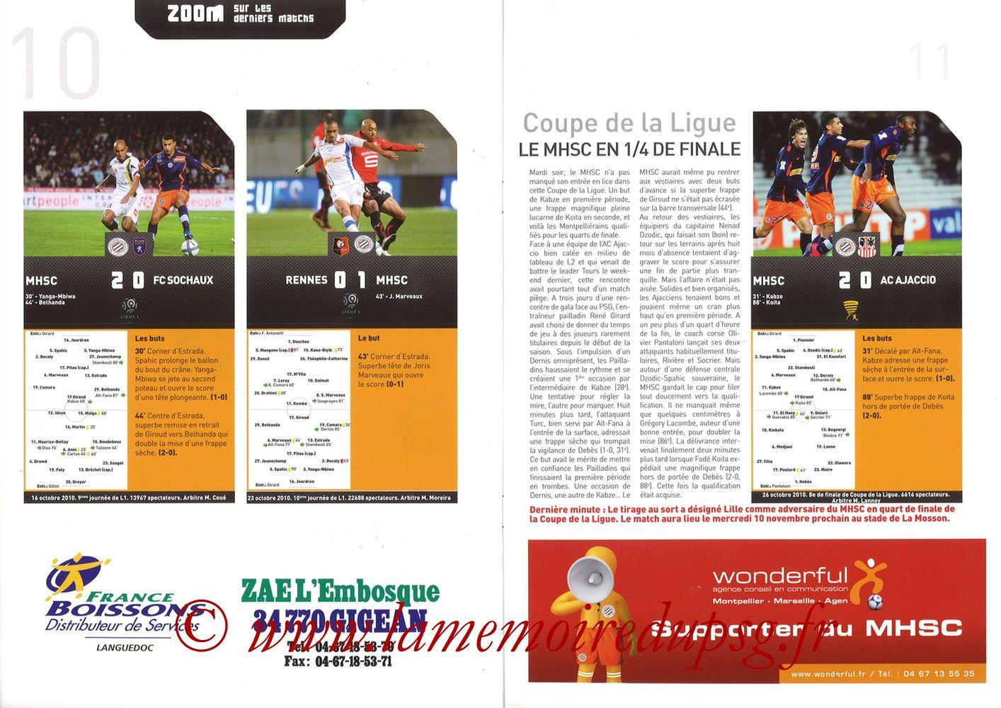 2010-10-31  Montpellier-PSG (11ème L1, L'Echo de la Mosson N°6) - Pages 10 et 11