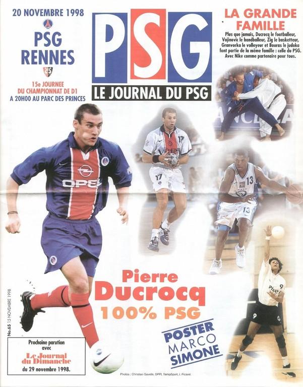 1998-11-20  PSG-Rennes (15ème D1, Le Journal du PSG N°65)