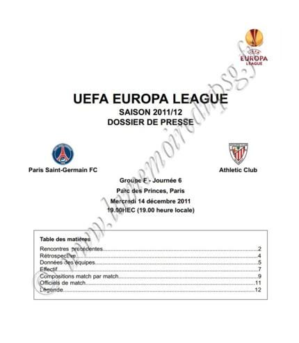 2011-12-14  PSG-Athletic Bilbao (6ème poule C3, Dossier de presse)