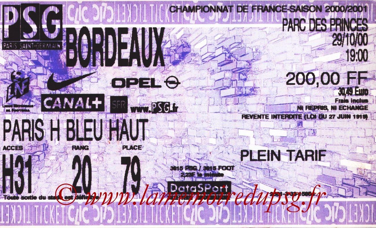 2000-10-29  PSG-Bordeaux (13ème D1, bis)