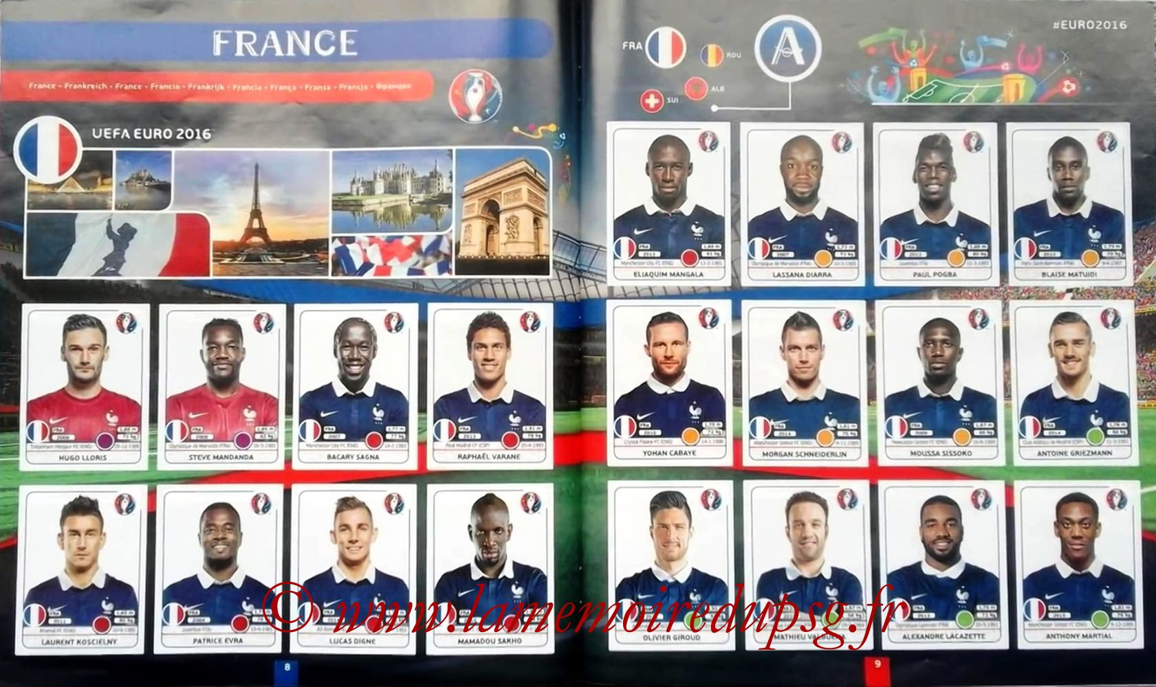 Panini Euro 2016 Stickers - Pages 08 et 09 - France