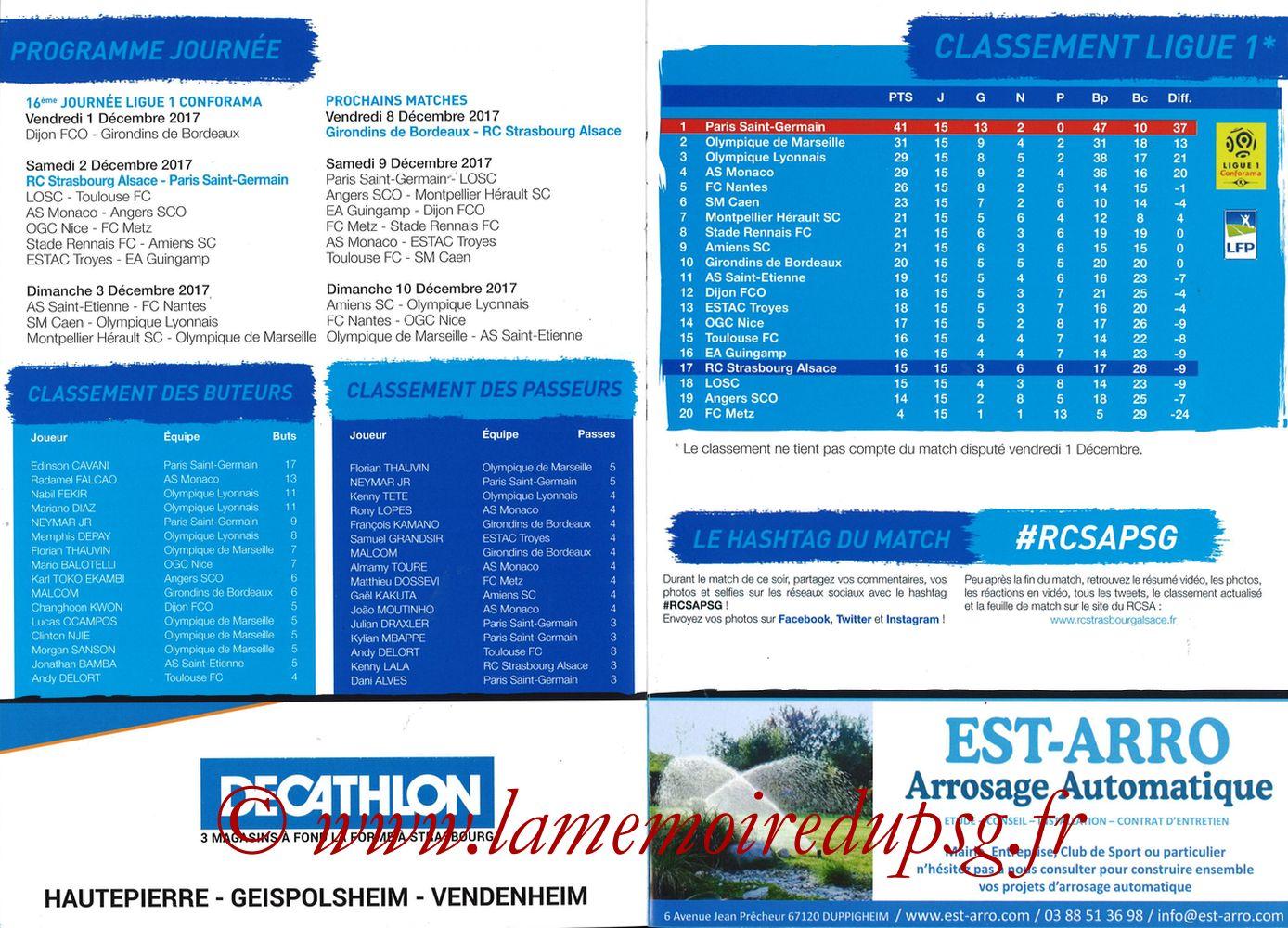 2017-12-02  Strasbourg-PSG (16ème L1, Passion Racing N°7) - Pages 10 et 11