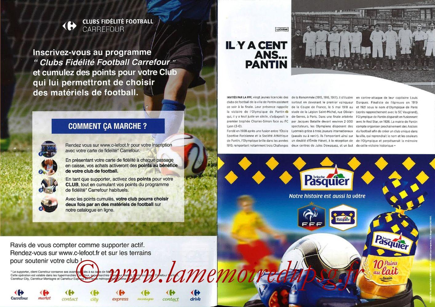 2018-05-08  Les Herbiers-PSG (Finale CF à Saint-Denis, Programme officiel FFF) - Pages 20 et 21