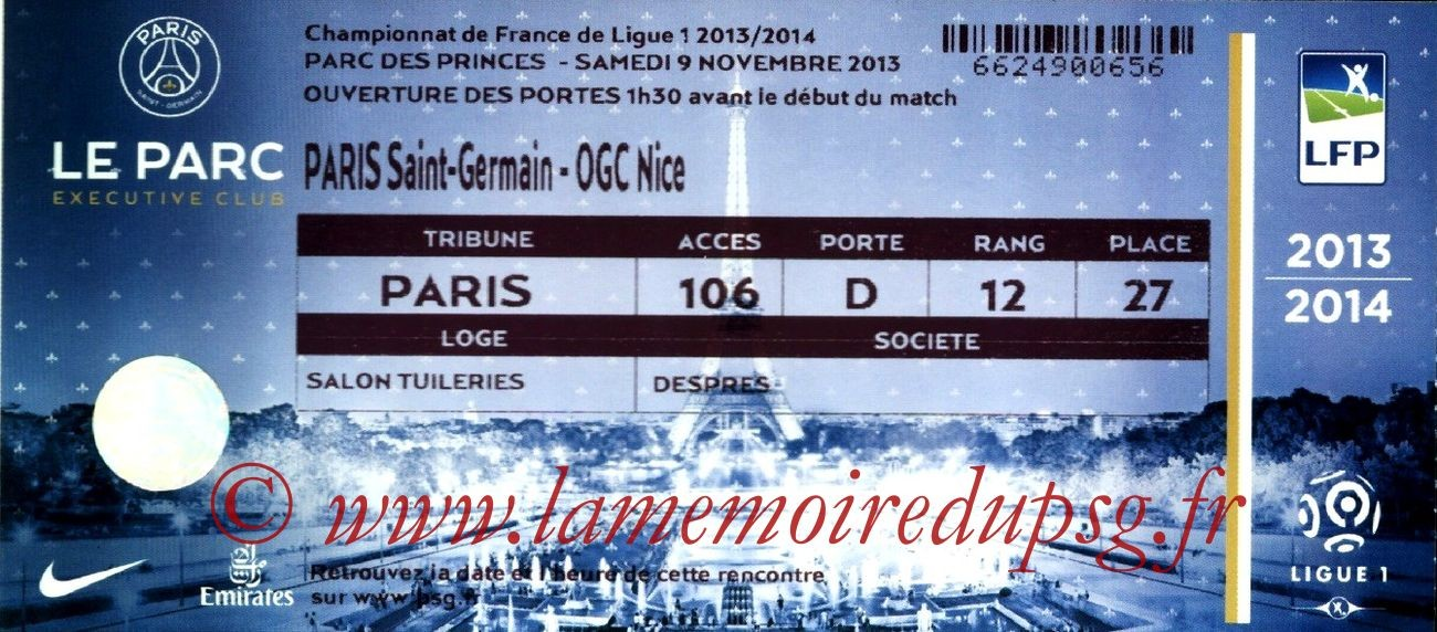 2013-11-09  PSG-Nice (13ème L1, Loge)