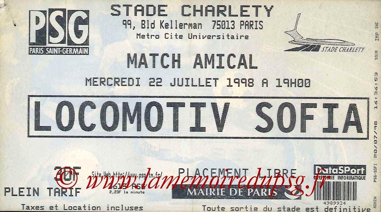 1998-07-22  PSG-Lokomotiv Sofia (Amical à Charlety)