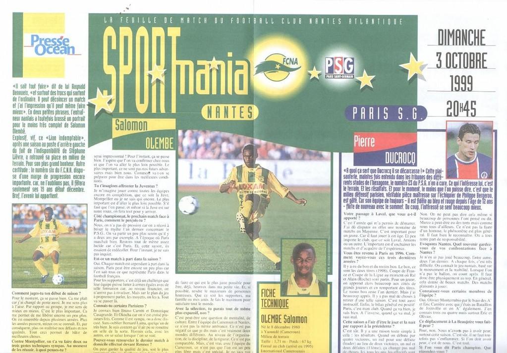 1999-10-03  Nantes-PSG (9ème D1, Sportmania)