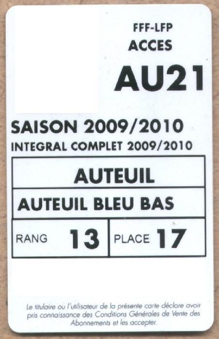 Carte d'abonné PSG 2009-10