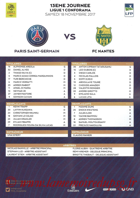 2017-11-18  PSG-Nantes (13ème L1, Feuille de match)